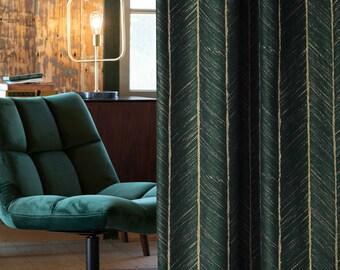 dark green curtains etsy