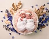 Blue Pink and Gold Floral Newborn Digital Backdrops (4)