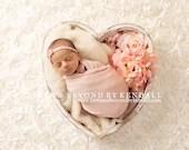 Heart Bowl Peachy Pink Floral Newborn Digital Backdrops (2)