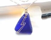 9k gold and silver wire lightning bolt necklace on cobalt blue sea glass / beautiful natural cobalt sea glass pendant /ocean blue lightning