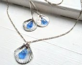 Fine silver shell necklace / silver shell with blue sea glass / blue beach glass earrings / silver shell jewellery / real beach glass