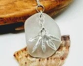 Frosty white sea glass necklace / silver orchid necklace / orchid pendant