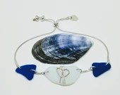 Cobalt blue and milk white sea glass bracelet / 9k gold heart bracelet / sea glass and silver bracelet