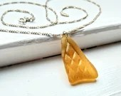 Golden amber yellow sea glass necklace / amber beach glass chain / rare golden seaglass jewelry / patterned yellow sea glass chain