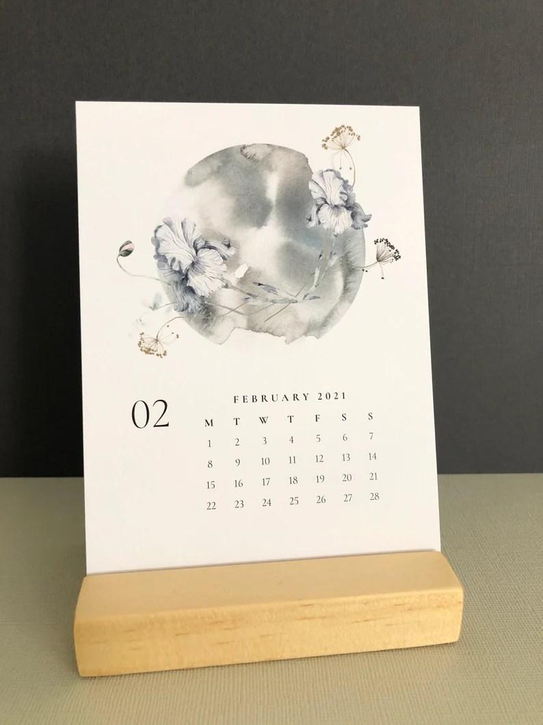 Desk Calendar 2021 Lunar Desk Calendar Moon Art Calendar image 0