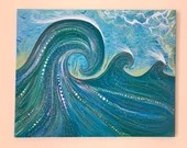 Magic Waves Original Painting- Abstract Pop Surf Art, Ocean Art One-Of-A-Kind Acrylic Painting