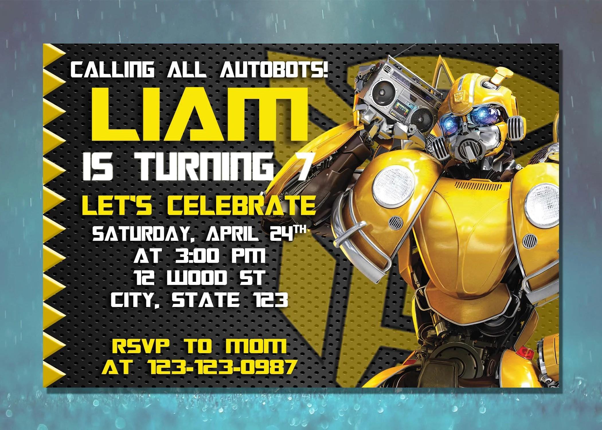 transformers invite etsy