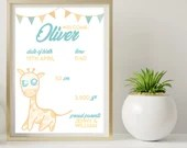 Personalised PDF Child Birth, Giraffe, cutie pic, digital printable, gift for mum, dad and baby birth, custom birth picture, printable baby