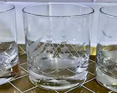 Set of 3 Etched Glass Sailboat Lowball Cocktail Rocks Glasses