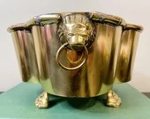Vintage Mid Century Brass Footed Planter with Lion Accents