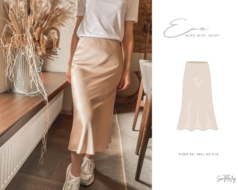 Bias Midi Skirt PDF Pattern Silk Skirt Sewing Instruction image 0