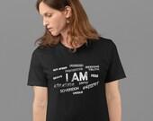 I AM - Free, Creative, Sovereign, Focused, Brave - Snow White Short-Sleeve Unisex T-Shirt