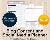 Printable Blog Planner - Planner for Blog Content and Social Media - Food Bloggers, Lifestyle Bloggers, Mom Bloggers, Small Business Planner