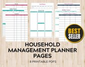 Printable Household Management Pages with Budget Planner Printable, Meal Planner Printable, Password Tracker, and more!