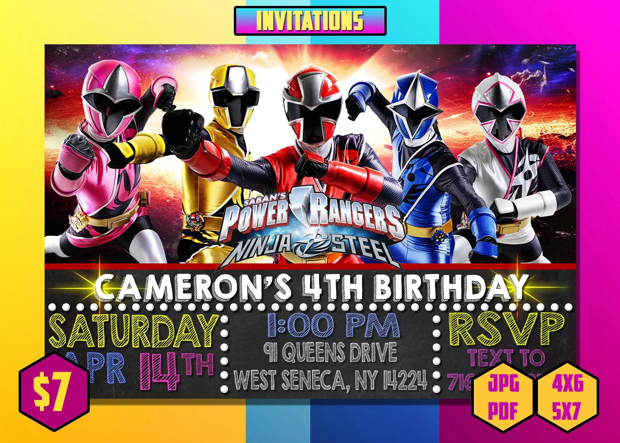 Power Ranger Invites Etsy