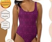 Purple Geometric One-Piece Swimsuit - Purple Swimsuit - Purple and Black Geometric Bathingsuit - One Piece swimsuit -