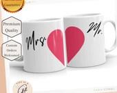 Mr.  Heart (Half) White glossy mug - Groom Gift - Newly Wed Gift - Wedding Gift Mug - Mr Wedding Mug - Half Heart Mug