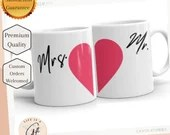 Mrs. Heart (Half) Bride Gift - Newly Wed Gift - Wedding Gift Mug - Mrs Wedding Mug - Half Heart Mug