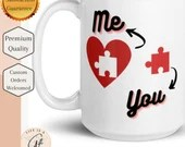 Me & You Puzzle Piece Heart mug - White glossy mug - Love Mug - I love You Mug - Wedding Gift - Anniversary Gift - Engagement Gift