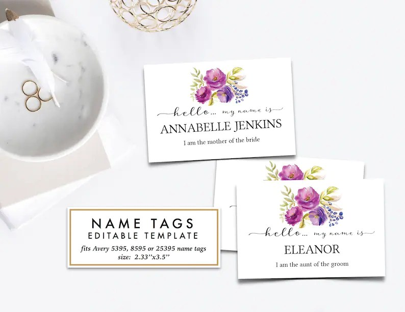 Editable Name Tags Purple Lilac Weddings Bridal Shower Baby Shower Rehearsal Dinner Rebecca Collection Pdf Avery 5395 8395