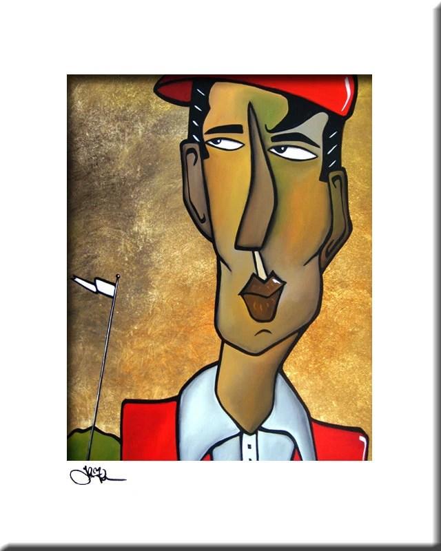 abstrakte malerei moderne pop art original print zeitgenossisches portrat bunte gesicht golf dekor von fidostudio
