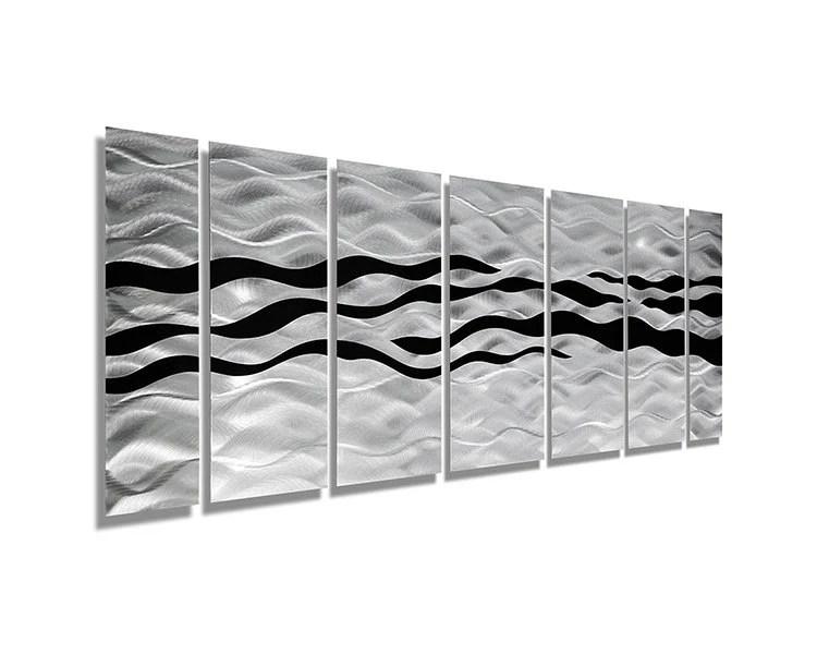 Silver & Black Abstract Metal Wall Art Handpainted