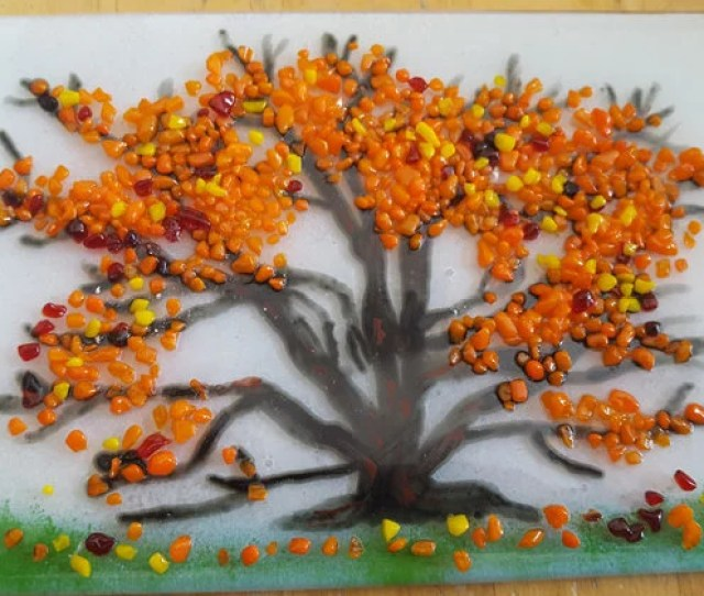 Autumn Tree Fused Glass Panel