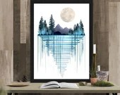 Blue Forest Art Print Nature Artwork Modern Contemporary Artist Signed Home Decor Pine Tree Moon Mountain Painting 16x20 8x10 5x7 4x6 ACEO