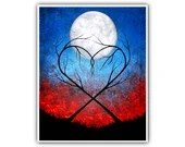 Eternally Yours - Heart Shaped Trees Art Print Modern Colorful Artwork Infinity Moon Red Blue Nature Signed Painting 8x10 11x14 16x20 ACEO