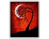 Phase VI Moon Tree Art Print Vibrant Red Modern Artwork 8x10, 5x7, 4x6, ACEO Sizes Wall Decor Bold Dark Modern Contemporary Signed Fine Art