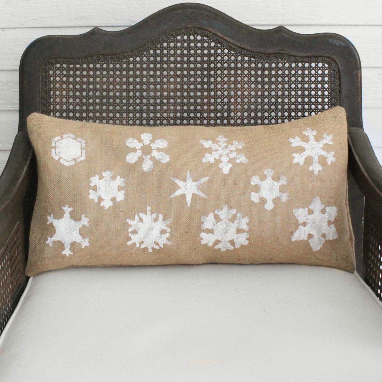Snowflake Study Burlap Christmas Pillow Christmas Pillow Winter Snowflake Pillow