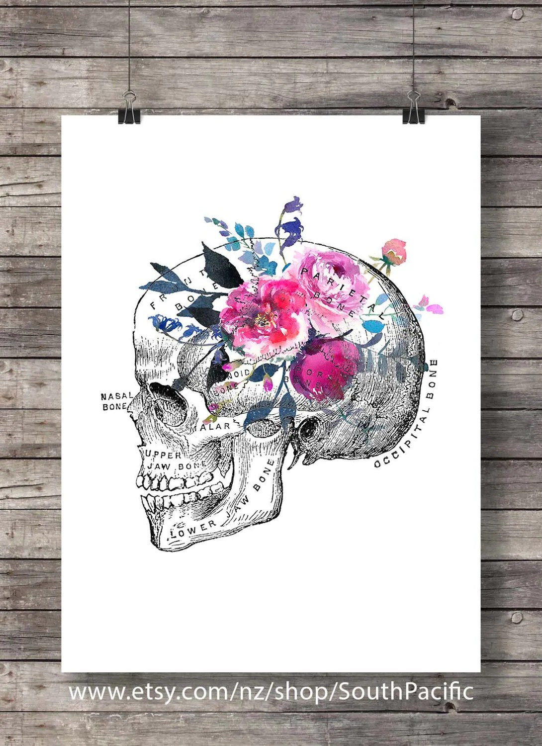 Flower Skull Printable Art Watercolor Flower Floral