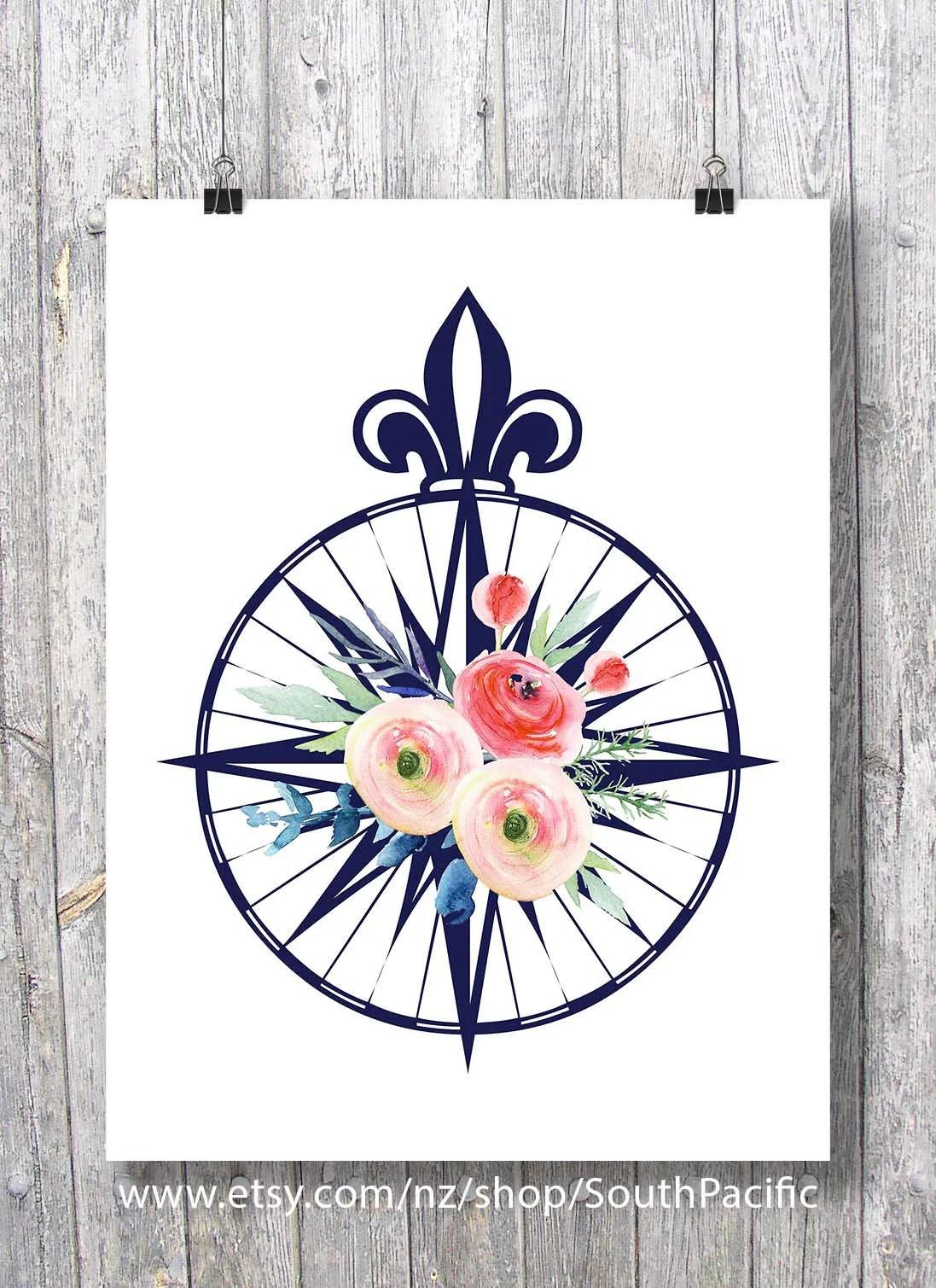 Compass Rose Watercolor Flowers Roses Printable Art