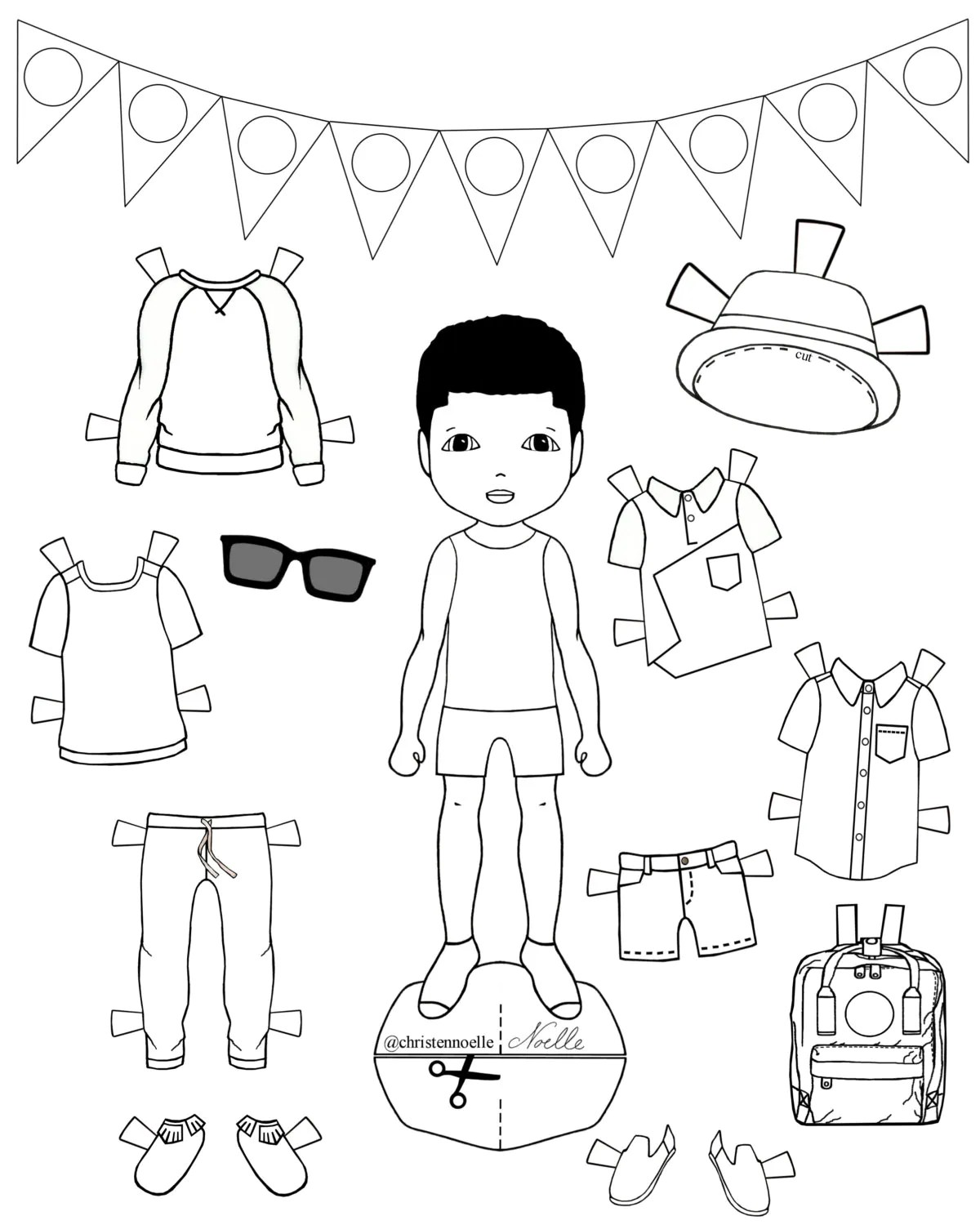 Color Me Printable Black And White Paper Dolls Hand Drawn