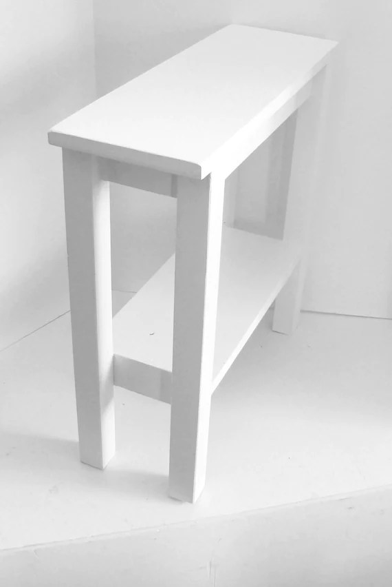 narrow side table or end table white modern custom size
