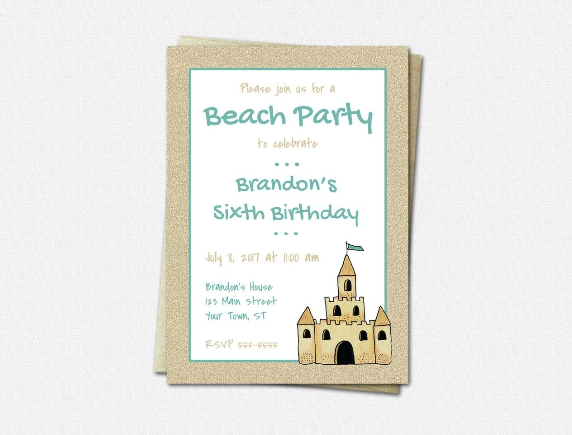 Beach Party Invitations, ...