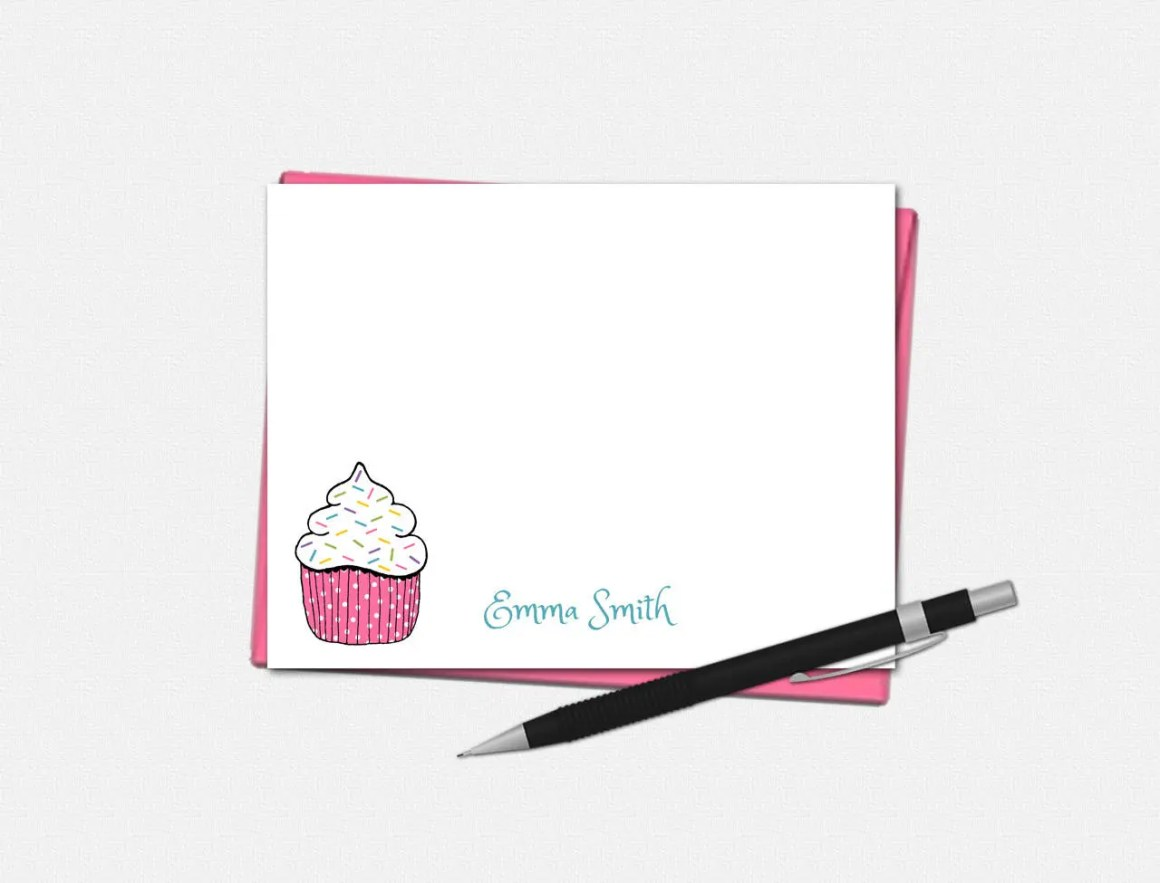 Custom Note Cards - Cupca...