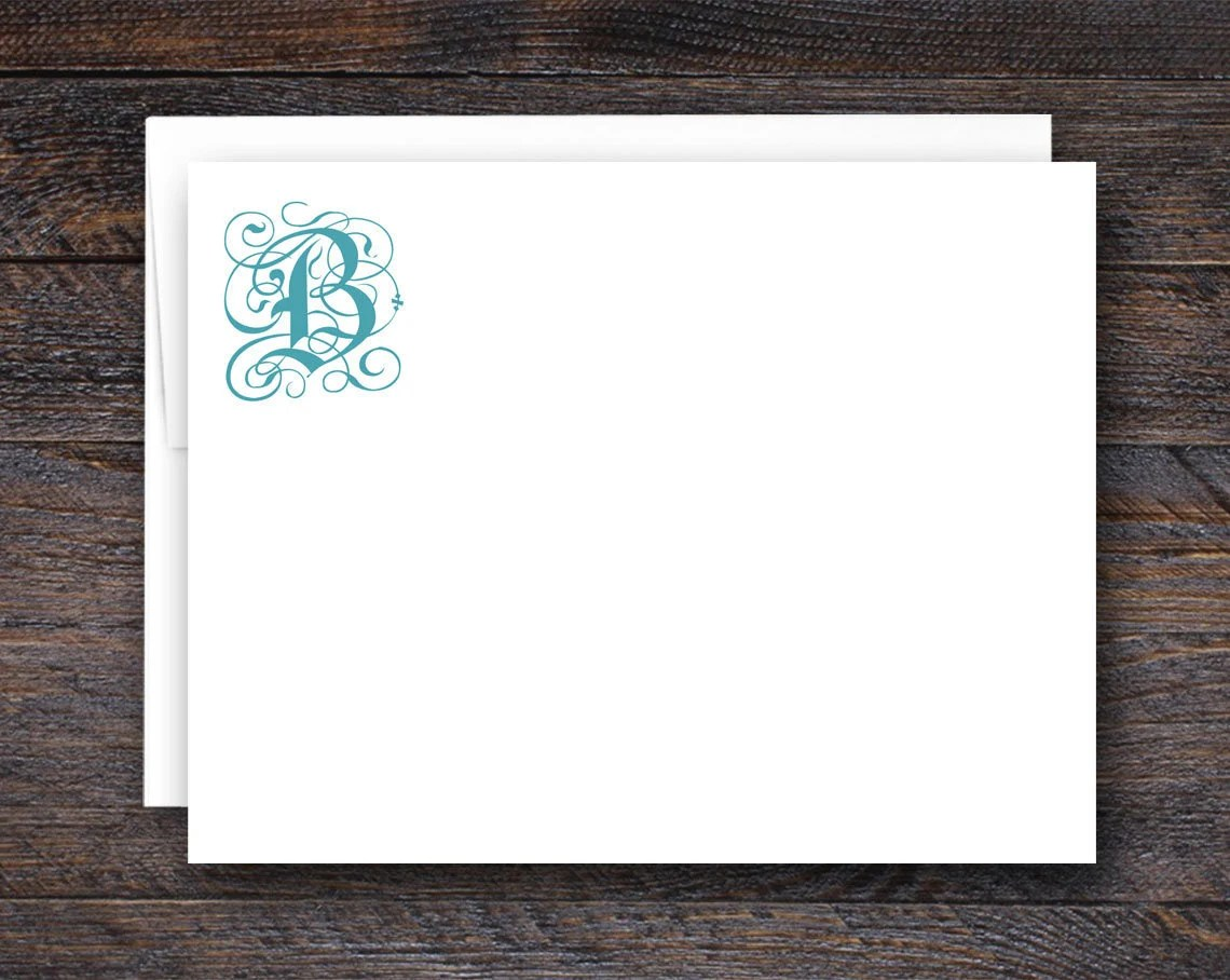 Monogram Note Cards - Fla...
