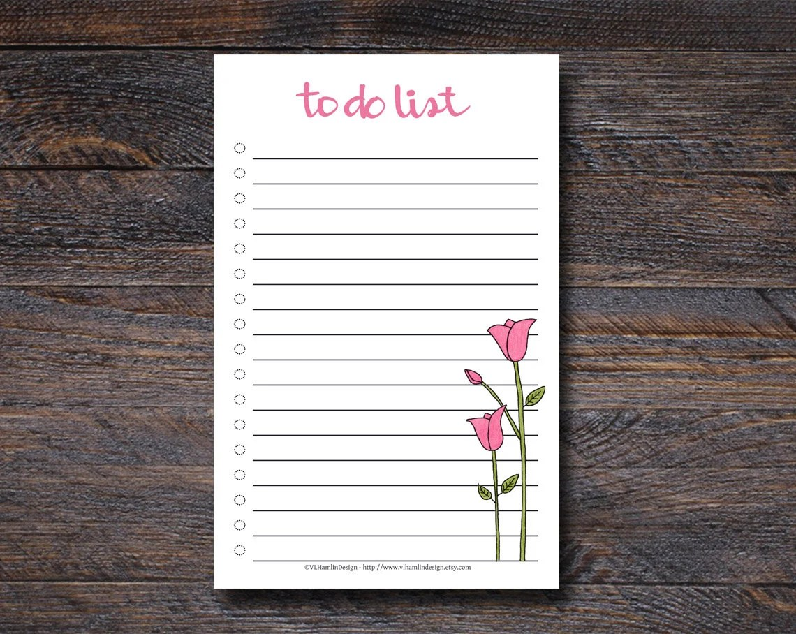Tulips To Do List Pad - T...