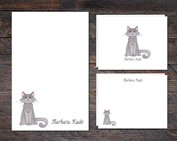 Personalized Cat Stationery Set | VLHamlinDesign