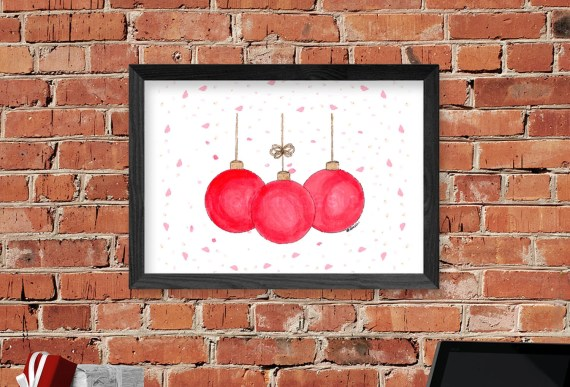 Watercolor Ornaments Wall Art Decor