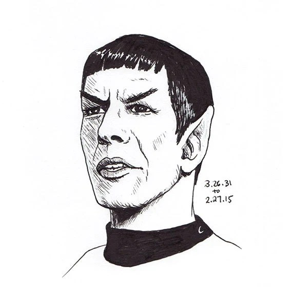 Black White Spock Drawing And