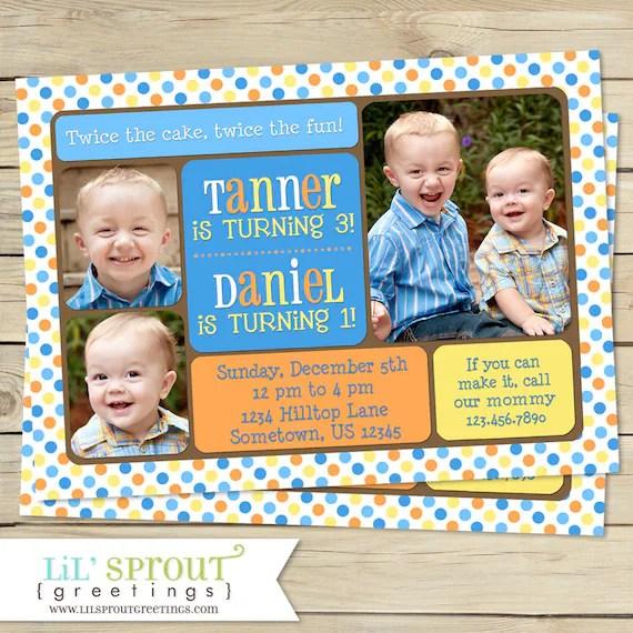 double birthday invitation for boys
