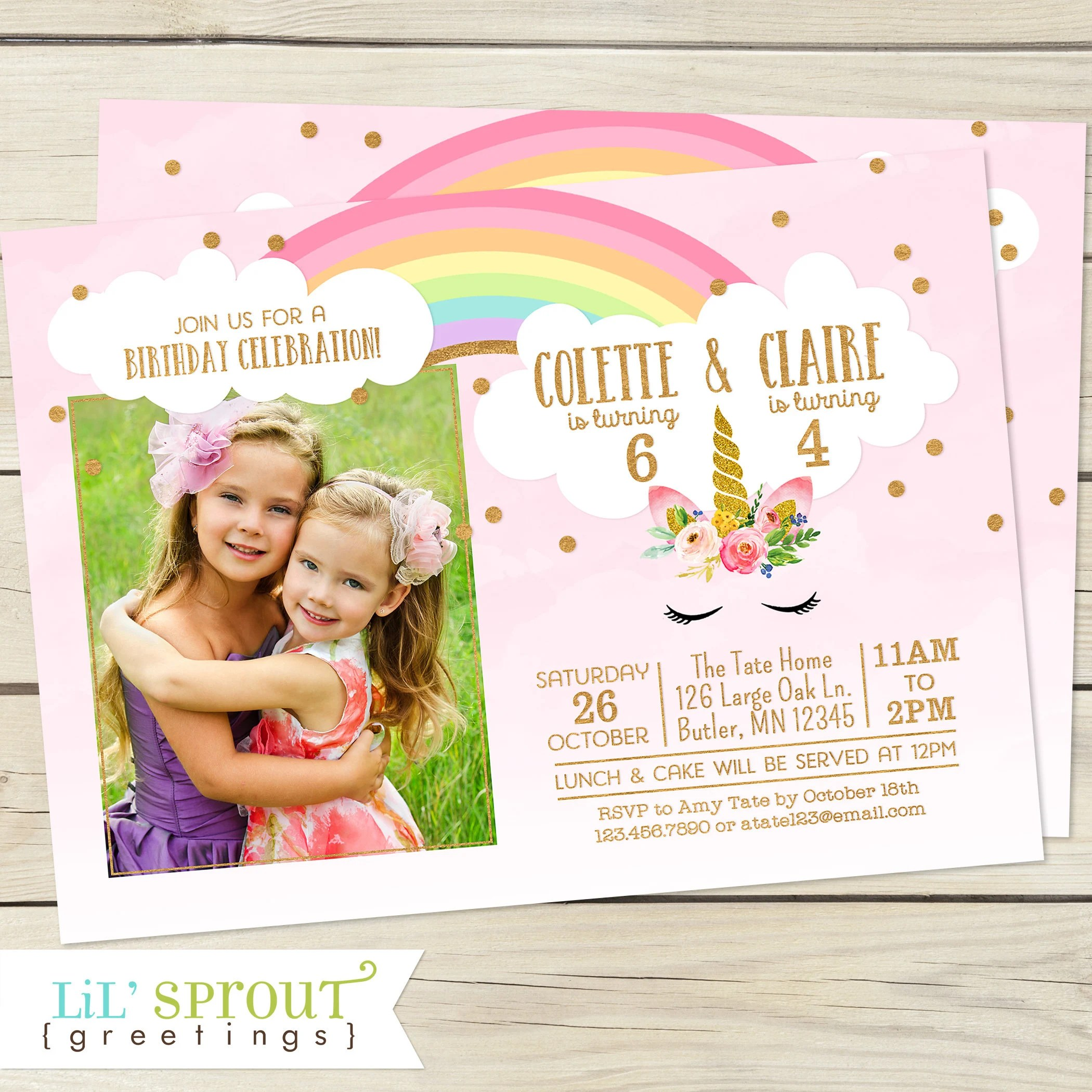 unicorn girls joint birthday invitation