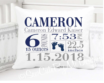 birth announcement pillow etsy