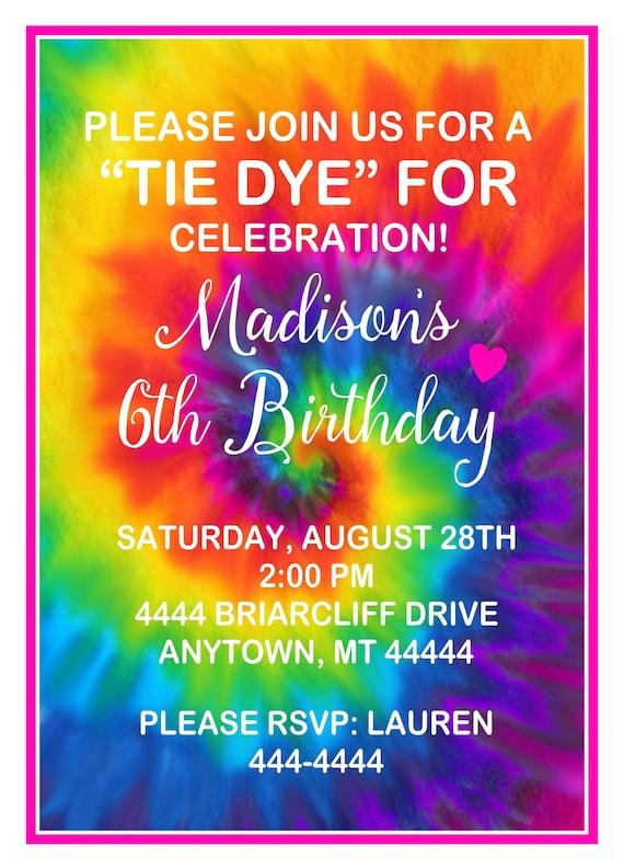 Tie Dye Invitations Birthday Party
