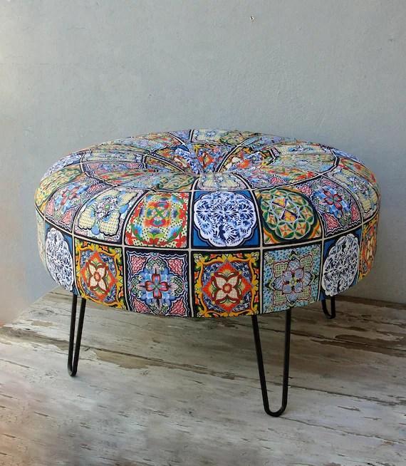 bohemian tile pattern ottoman hair pin legs ottoman round pouf bohemian wooden furniture global textile mandala