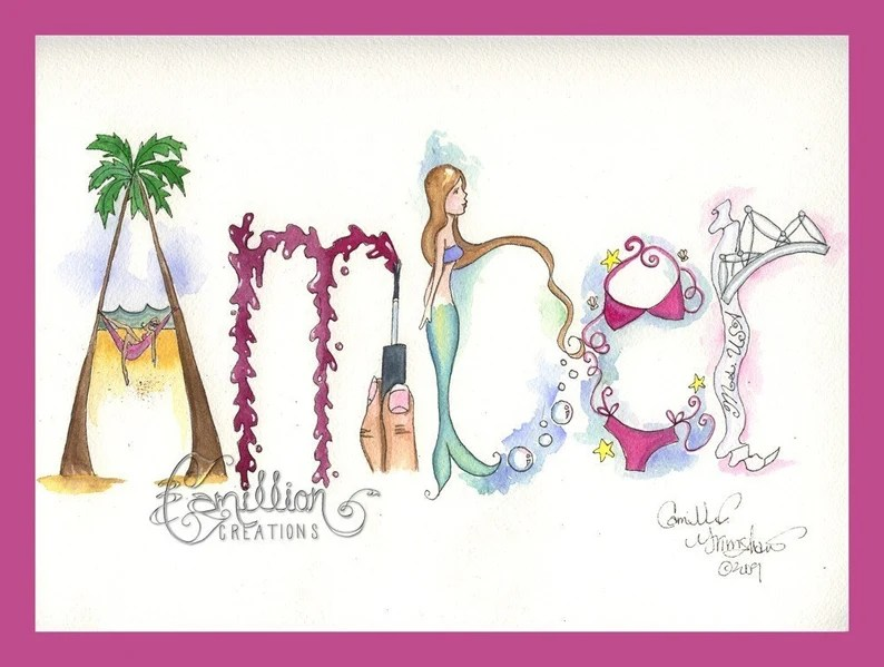 5 Letter Personalized Name Art Illustration Original Watercolor Painting Drawing By Camille Grimshaw