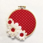 Flower Wall Art Embroidery Hoop Art Dainty Red Wedding