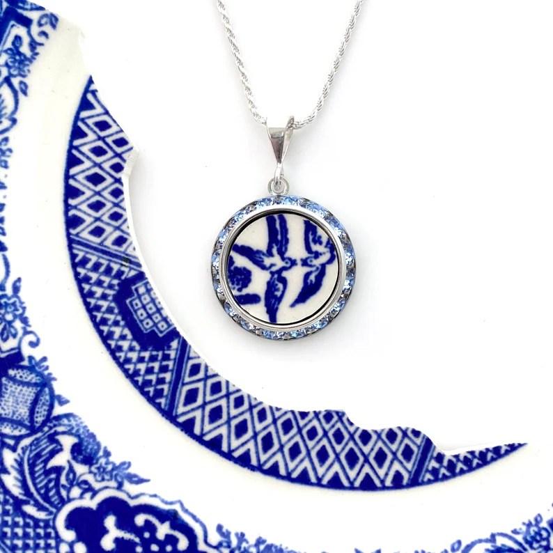 Love Birds China Necklace Broken China Jewelry Romantic 20th image 1
